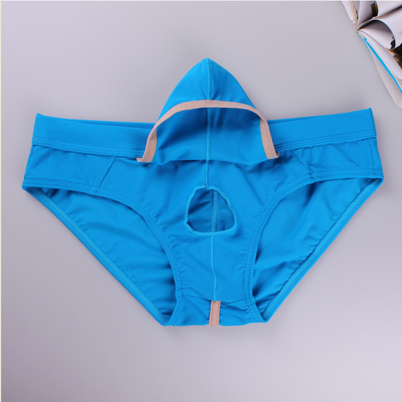 Sexy Penis Hole Men Underwear Big Penis Bag Mens Briefs Low Waist Open Front Pouch Gay Underpants Breathable Panties Erotic