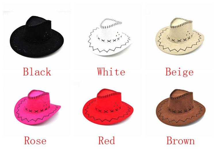 100pcs/lot Wide Brim Cowboy Hat Suede Look Wild West Fancy Dress Men Girls Solid Colors Gorros Cap Women's Hats Chapeau Femme 2