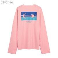 Qlychee Autumn Korean Style Ulzzang Harajuku Women Tee Top Moon Star Print T Shirt Long Sleeve