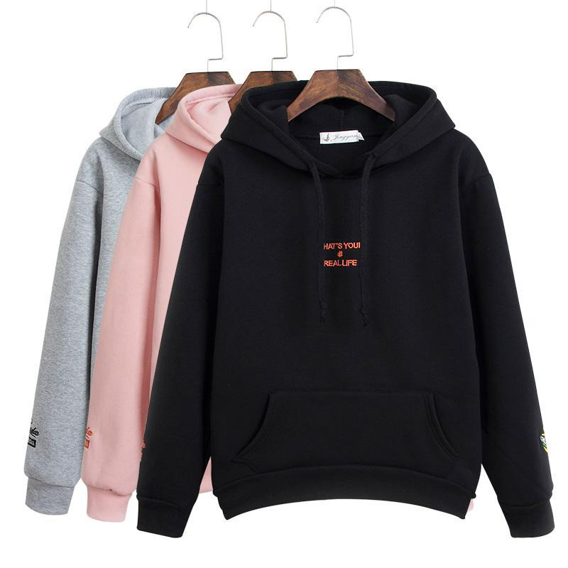 Zuolunouba 2019 Autumn  Winter Ladies Thick Hooded Letters Printed Sweatshirt Embroidery Harajuku Long-sleeved Warm Hoodie Women