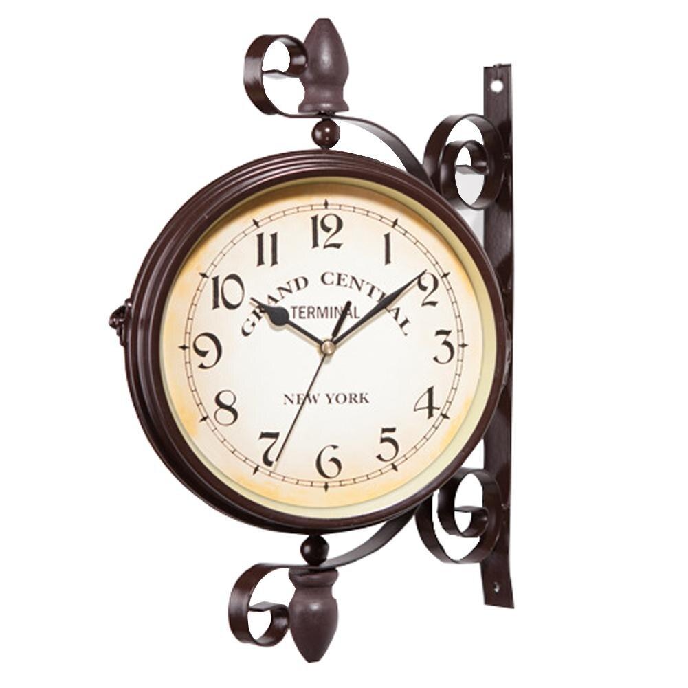 Marron Vintage décoratif Double face en métal horloge murale Station horloge murale horloge murale horloge en métal Top qualité en gros