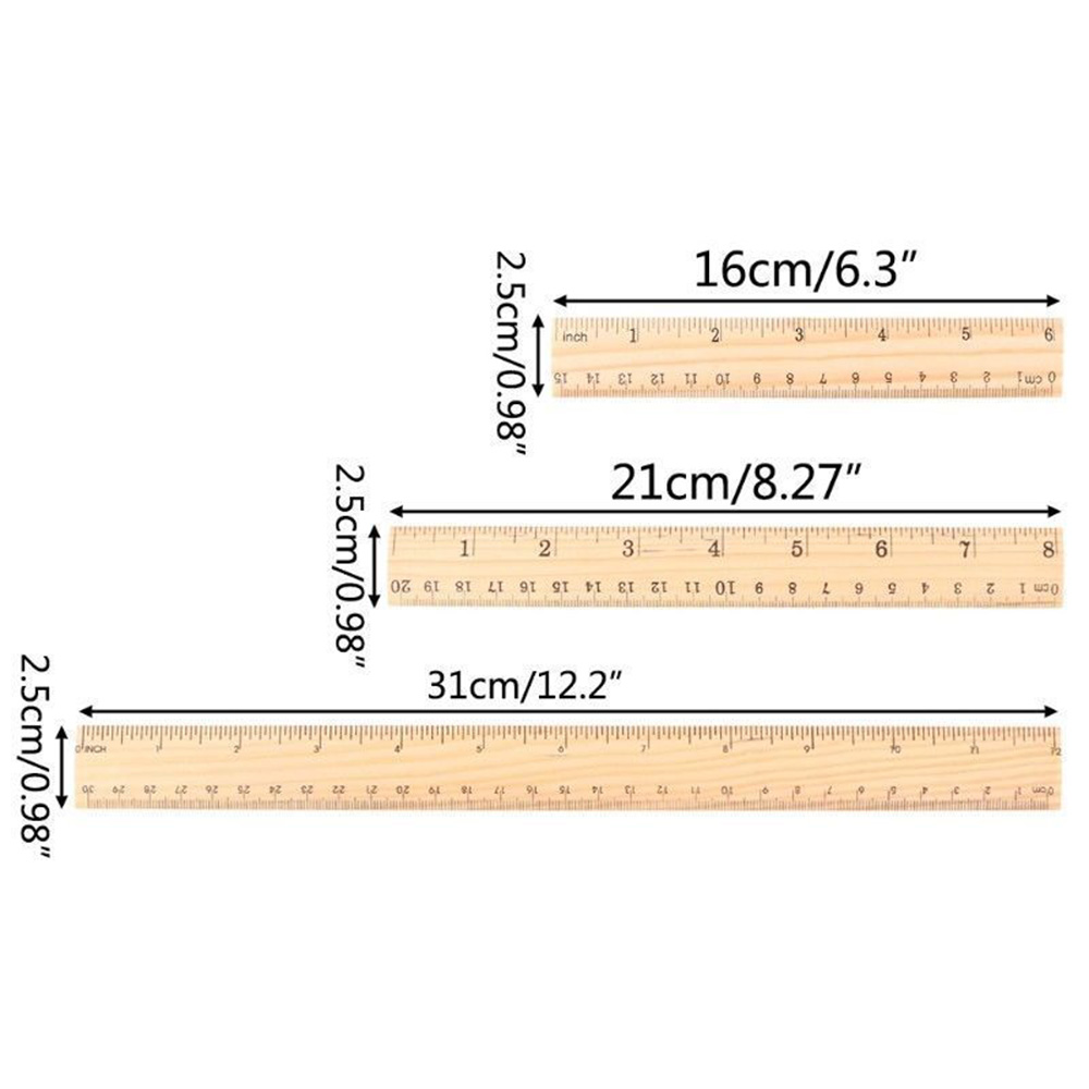 High Quality 15cm 20cm 30cm Wooden Ruler Metric Rule Precision Double Sided Measuring Tool Learning office Stationery