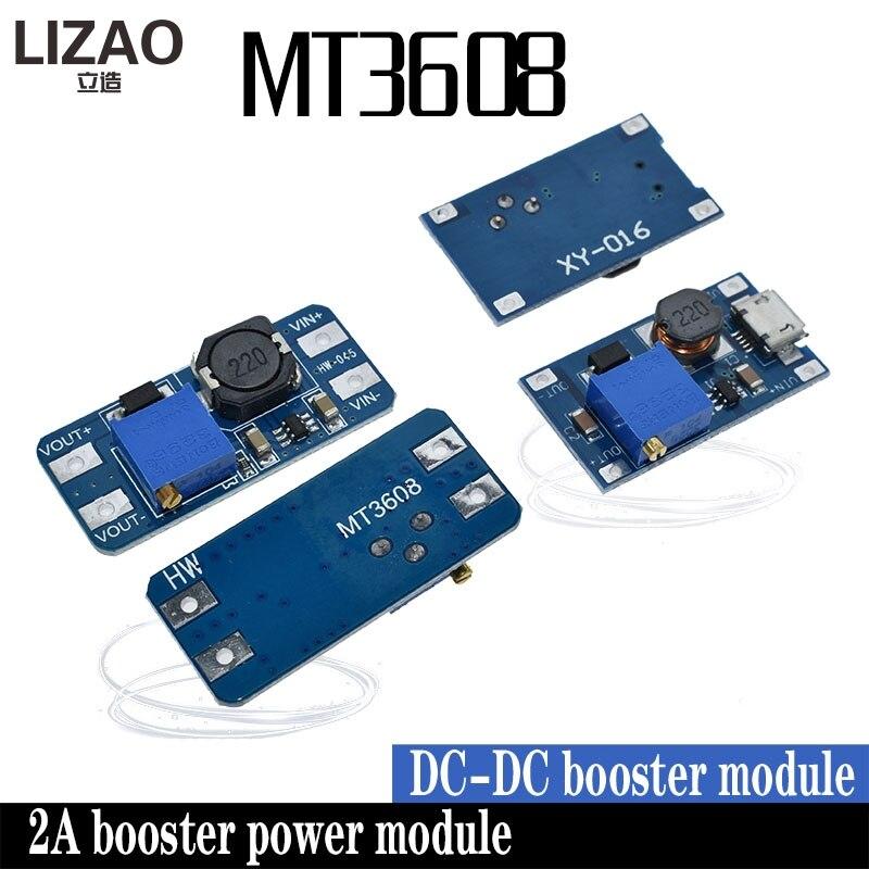 LIZAO MT3608 DC-DC Placa Impulso Step Up Módulo Impulso Ajustável Módulo 2A com MICRO USB 2 V-24 V para 5 V 28 12 9 V V V