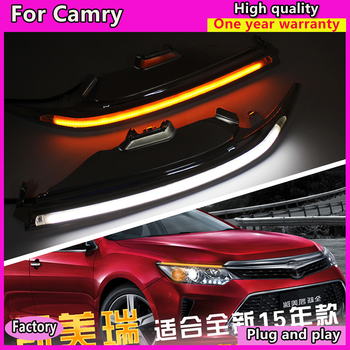 Car Styling LED Headlight Brow Eyebrow for Toyota camry 2015-2017 Daytime Running Light DRL With Yellow Turn signal Light