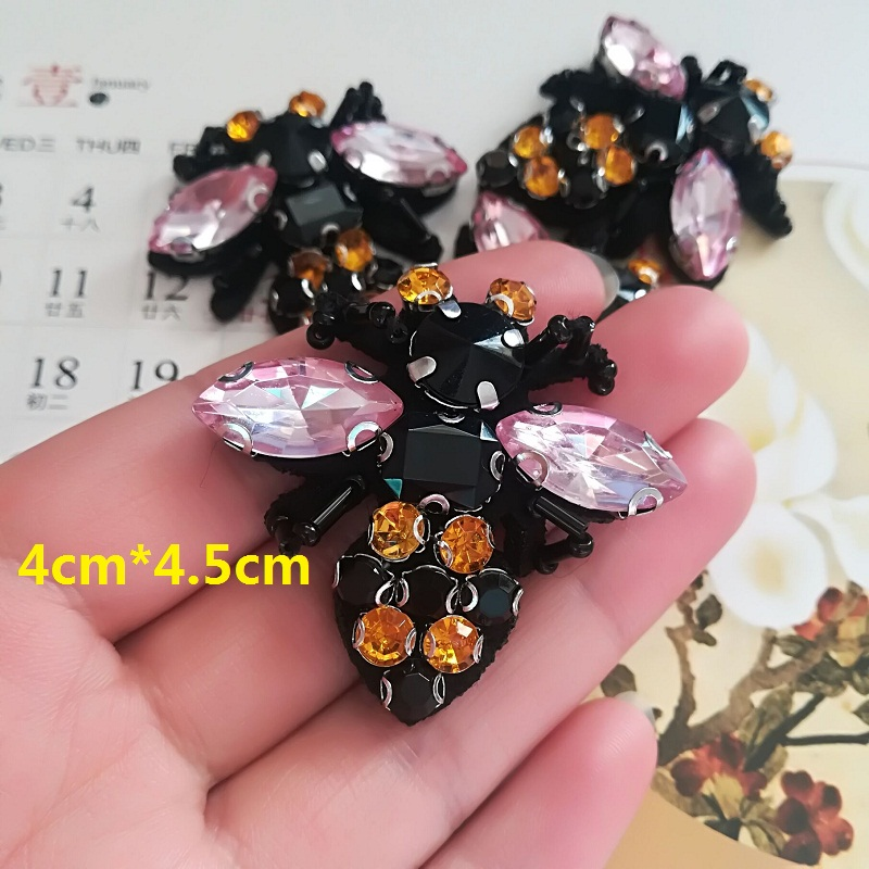 Free Shipping Manual Black Leg Bees Patch Bead Clothing Shoes Hat Sacrf Decorative Insect Patch DIY Accessories Applique Z088