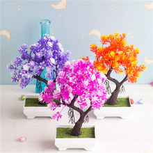Artificial Plants Small bonsai artificial Plastic fake flower desktop living room simulation garden decoration AQ110