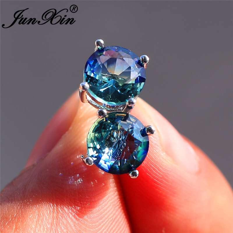 Mystic Fire Crystal Stone Round Stud Earrings For Women White Gold Rainbow Blue Red Green Zircon Double Earrings Wedding