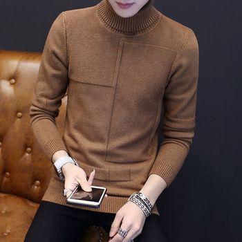 Пуловер свитер мужчин зима 2018 мужские Длинные рукава свитер с высоким воротом молодежи одежда с брызгами развивать мужские водолазки