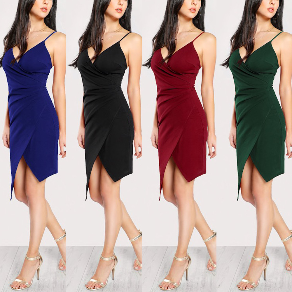 Stylish Hot Sale Women Sexy V-neck Sling Backless Asymmetric Bustier High-waist Elegant Short Dress Lady Ball Party Dress S-XXL - dresses