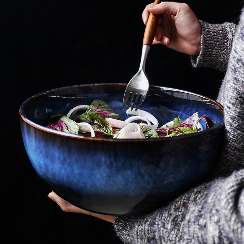 2400ml Super big salad bowl ceramic blue porcelain dropping bowl wholesale tableware deep bowl deep blue