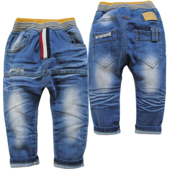 3885 dril de algodón suave Ligeramente cruz-pantalones de los niños pantalones de los niños de primavera y otoño niñas azul muchacho muchachos pantalones vaqueros del bebé pantalones vaqueros del muchacho