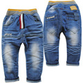 3885 soft denim Slightly cross-pants kids children's  trousers spring and  autumn  girls blue boy  boys baby  jeans  boy jeans