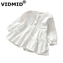 VIDMID new girls long sleeves dresses kids cotton clothes spring autumn dresses baby girls clothing children #8217 s dresses 7071 04 cheap Knee-Length REGULAR O-neck Full Cute Fits true to size take your normal size Solid Ruffles A-Line