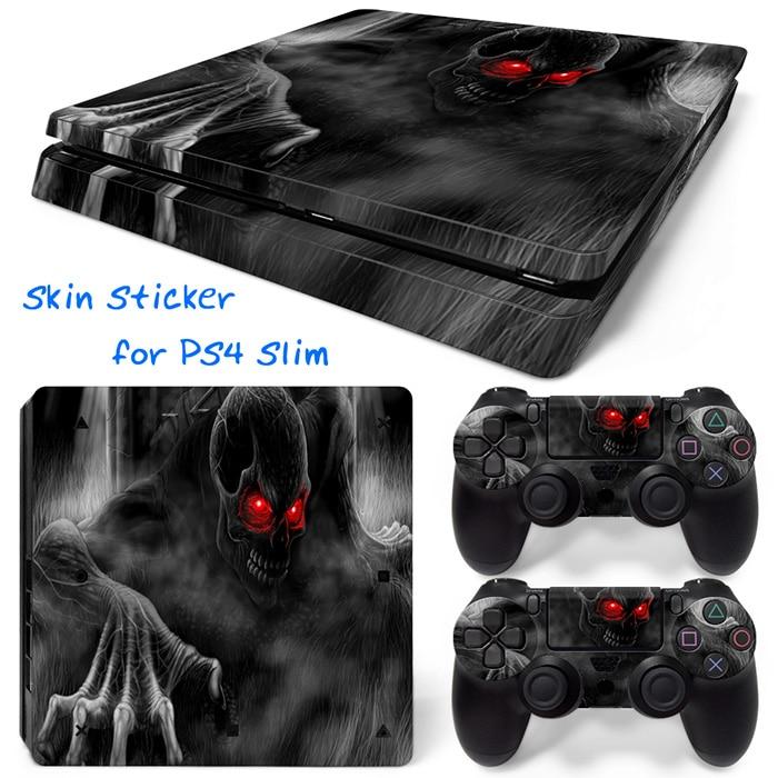 Синий Огненный Череп ПВХ Наклейки Обложка Виниловые Скины Наклейки для PS4 Slim для Playstation 4 Slim бесплатная доставка