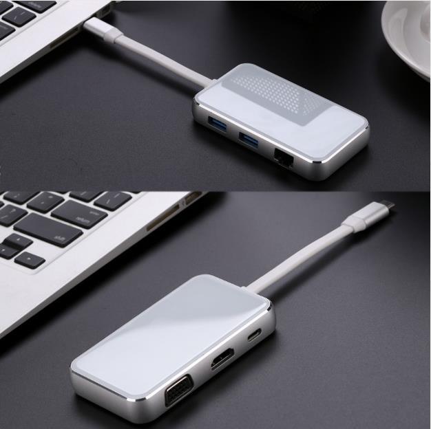 USB C USB 3,1 type C к HDMI и VGA и USB концентратор OTG и Ethnernet и зарядный адаптер док станции для Laptopv - 6