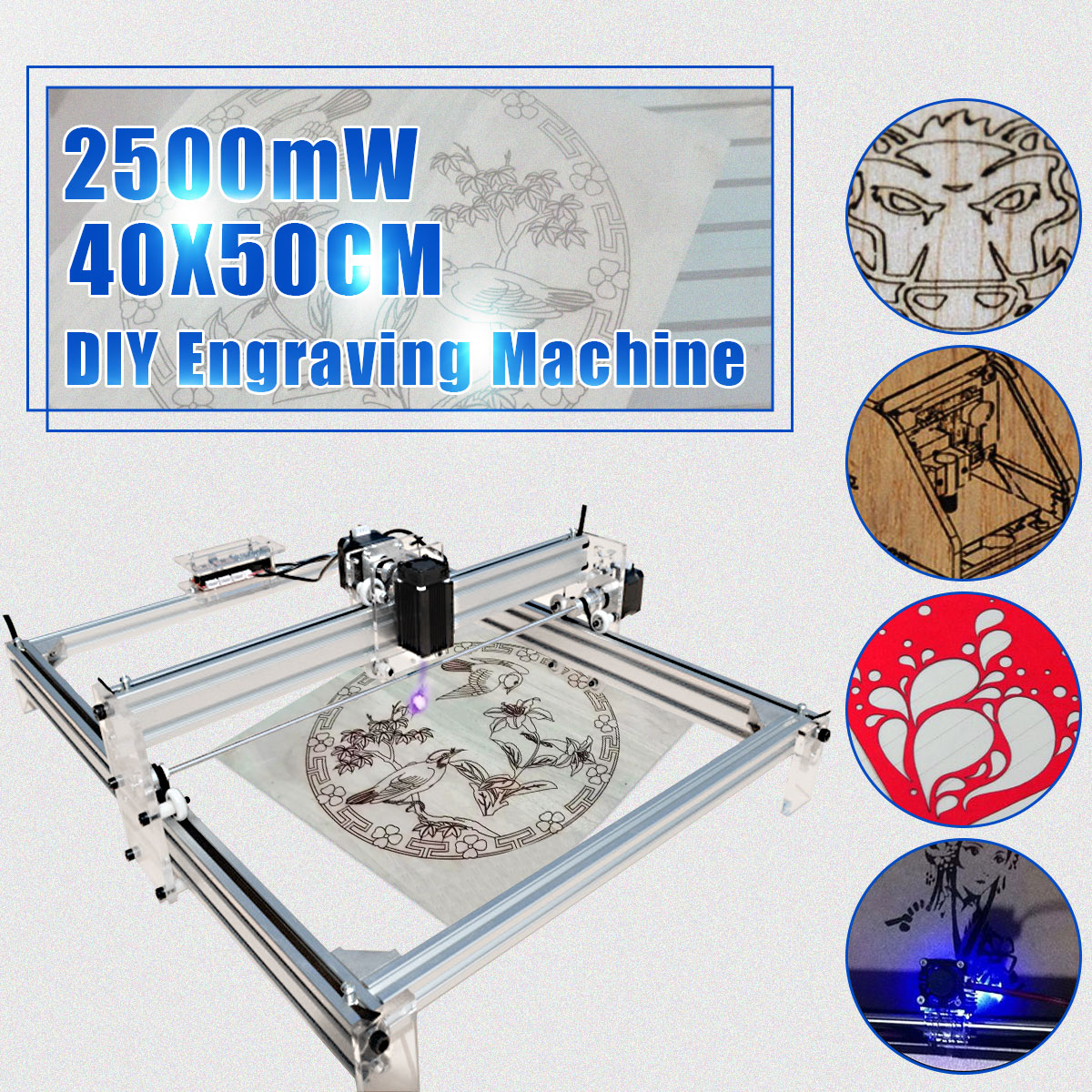 DC 12V 2500mW 40X50CM DIY Desktop Mini Laser Cutting/Engraving Machine Printer Carving with Laser Goggles