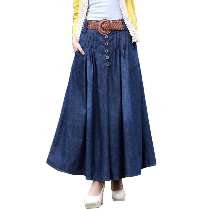 Casual Loose Women Skirts Long Denim Skirt Faldas Largas Skirts Womens 2018 Fashion Summer Jeans ...