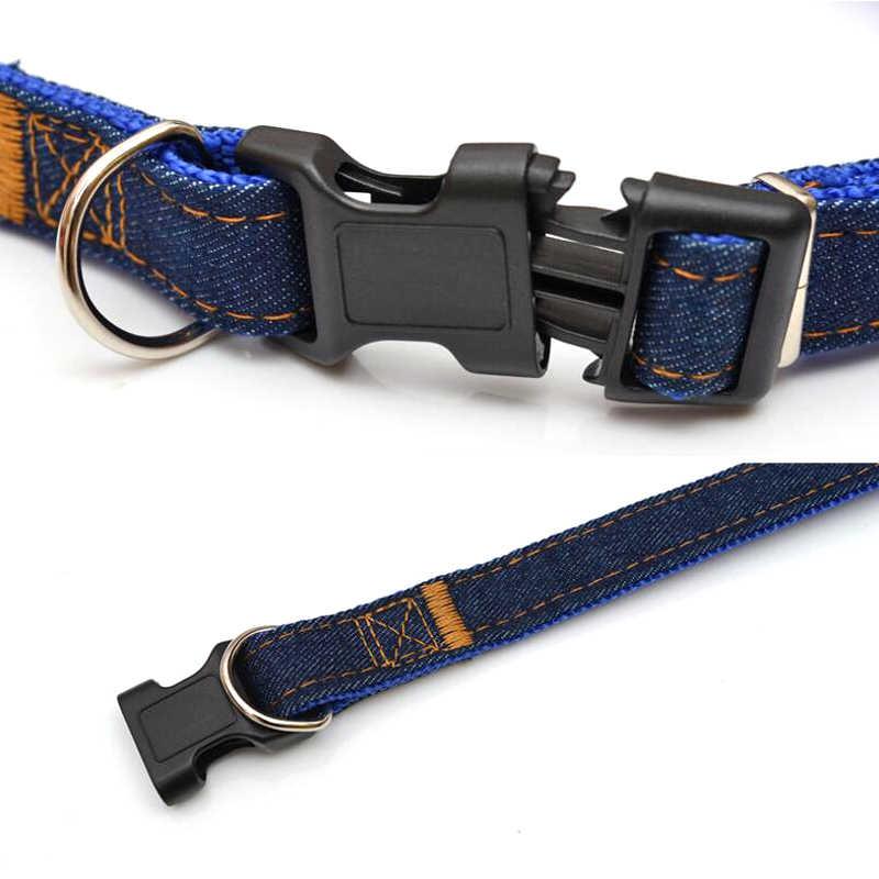 デニムジーンズ犬の首輪長さ調節可能牽引首輪リーシュ子犬犬猫ネックレス装飾ペット犬の首輪リーシュ