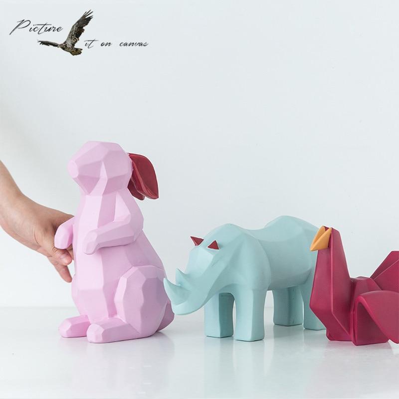 Papier pliant thème Figurine animale oiseau résine Figurine lapin Art artisanat rhinocéros Figurine pour la décoration de la maison cadeau de noël