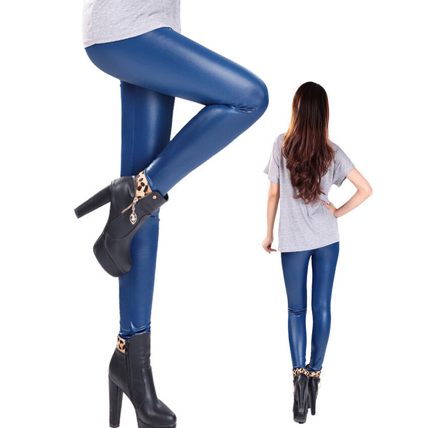 New 2016 women legging faux leather high quality slim leggings plus size High elastic sexy pants leggins Lady Stretch Pants Z874