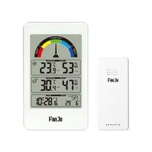 ميزان الحرارة الرقمي الرطوبة ساعة حائط استشعار لاسلكي داخلي في الهواء الطلق درجة الحرارة محطة الطقس مؤشر الراحة