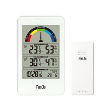 Digital Thermometer Hygrometer Jam Dinding Wireless Indoor Outdoor Suhu Cuaca Kenyamanan Indikasi(China)