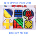 6 unids/set Shengshou Extraño-forma Irregular Cubo Mágico Puzzle Giro Velocidad Paquete Paquete de Cubo de PVC y Mate Pegatinas Cubo magia Puzzle