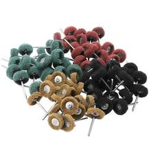 цена на 80pcs Mini Brush Scourer Abrasive Wheel Fiber Grinding Sanding Head Buffing Polishing Wheel For Dremel