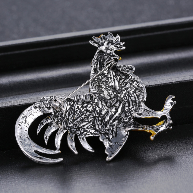 Colorful Rooster Rhinestone Brooch