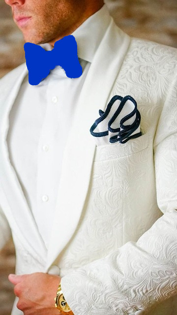 K:2297 High Quality White Paisley Mens Suits Groom Tuxedos Groomsmen Wedding Party Dinner Best Man Suits jacket+pants+tie