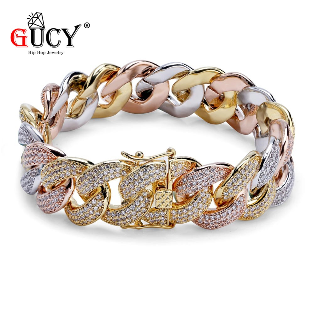 GUCY Hip Hop 18MM Cuban Bracelet Gold Silver Rose Tricolor Plated Micro Pave CZ Stones All