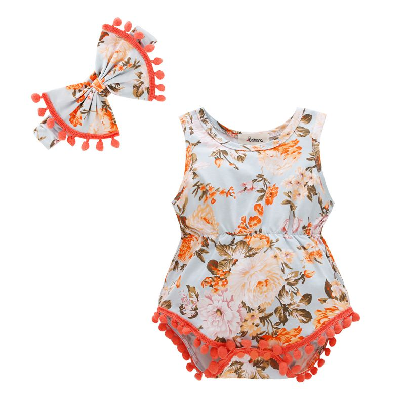 2018 Summer Baby Girl Triangle Romper Baby Floral Romper Sleeveless Ball Jumpsuit + Hair Band Infant Clothes
