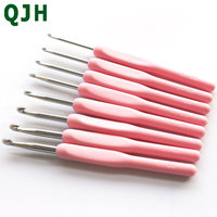8pcs Soft Plastic Handle Metal Crochet Hooks Crochets Needle Needlecrafts Tool Knitting Needles For Loom Hand