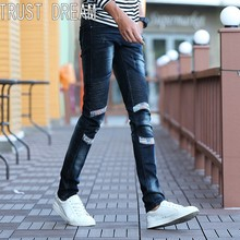 TRUST DREAM Europeans Style Men Spliced Slim Street Jeans Casual Denim Cargo Pants Fashion Ripped Man