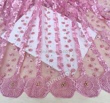 Обычный розовый большим количеством камней шнур вышитые африканских чистая кружево швейцарской кружевной ткани для пошива 5 ярдов отличное качество