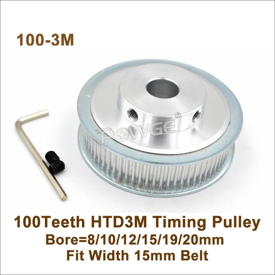 P0WGE 100 Teeth 3M Timing Pulley Bore 8 10 12 15 19 20mm Fit Width 15mm