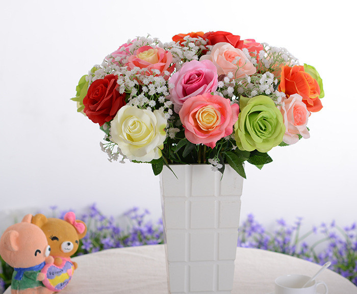 11pcslot cheap colorful silk rose wedding flower bouquet decorative
