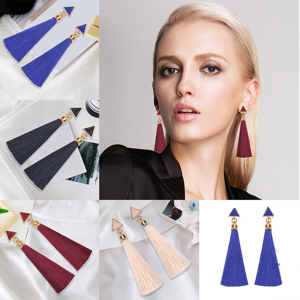 2018 New Fashion Women Rhinestone Long Tassel Dangle Earwears Fringe Drop Ear's Accessories How New