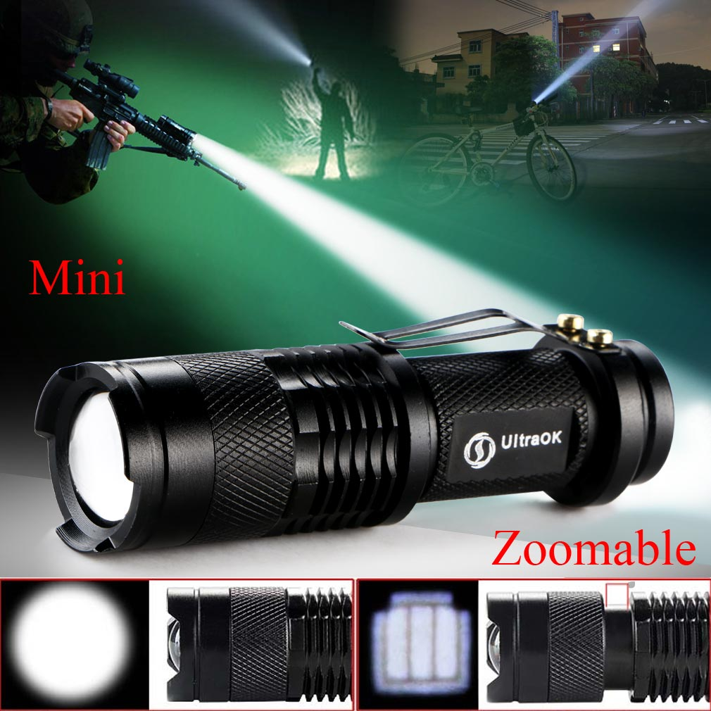 High-quality Mini Black CREE Q5 2000 Lumens LED Flashlight Zoomable LED Torch penlight For AA/14500 free shipping professional led flashlight cree q5 strong lumens black zoomable led torch lantern 3 models lanterna led penlight free shipping