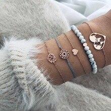5 Pcs/Set Natural Stone Bead Strand Love Heart Flower Charm Bracelet Bangle Set for Women Turtle Shell New