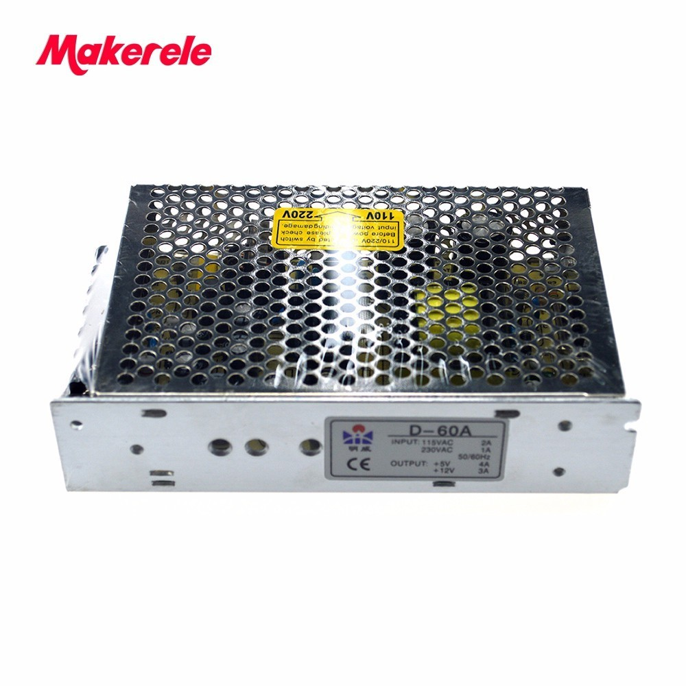 Dupla Saída ac para dc fonte de alimentação de Comutação 60 W 5 V 4A 12 V 3A AC-DC fornecimento de energia Livre grátis D-60A alta qualidade