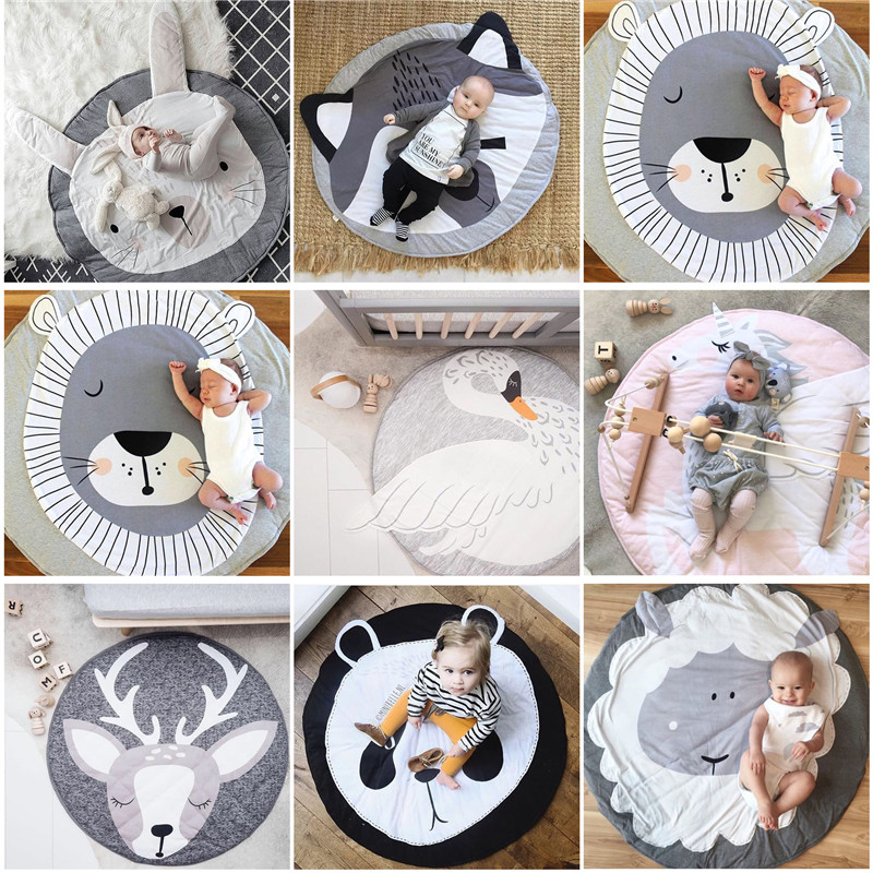 Baby Play Mat Blanket Children Letter Alphabet Crawling Mat Swan Game Pad Round Carpet Children Room Decoration Ins Hot Style Batteries