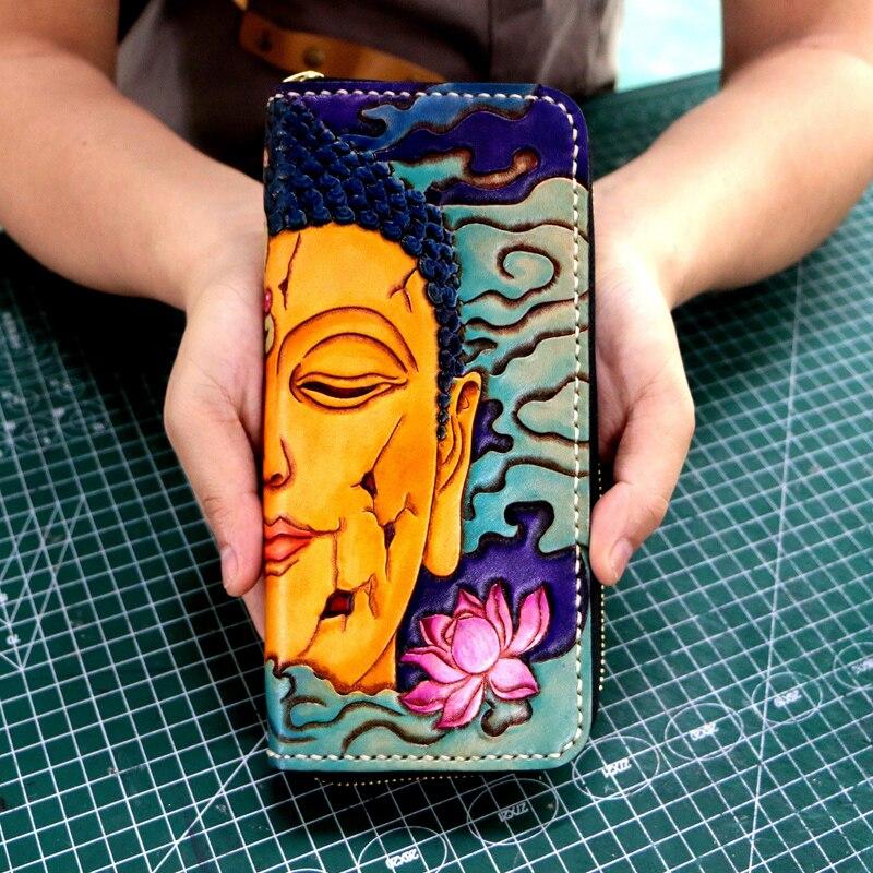 Femmes véritable porte cartes en cuir couleur portefeuilles Sakyamuni diable sac sacs à main hommes embrayage en cuir tanné végétal Long portefeuille cadeau