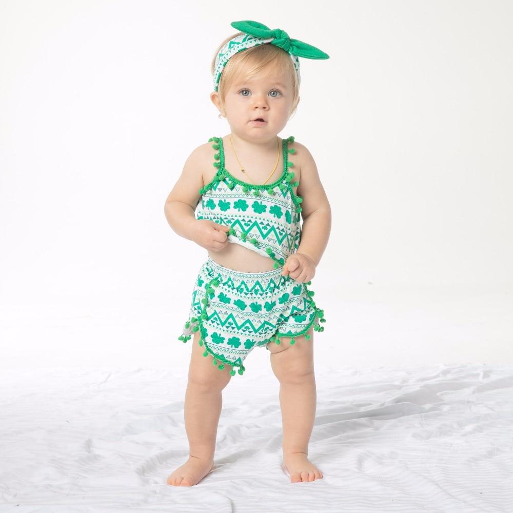 YK & Loving baby set patrick's day mouwloos Groen Lucky Clover - Kinderkleding