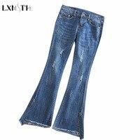 LXMSTH Skinny Ripped Jeans Woman High Waist Flare Pants Plus Size Stretch Slim Fashion Modern Split
