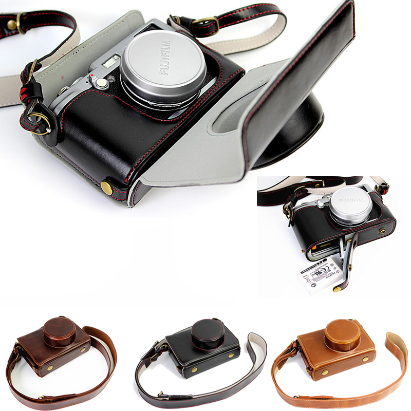 Luxury PU Leather Camera Case Bag For Fujifilm X100T X100 X100S Camera Case Leather With Strap Open battery design