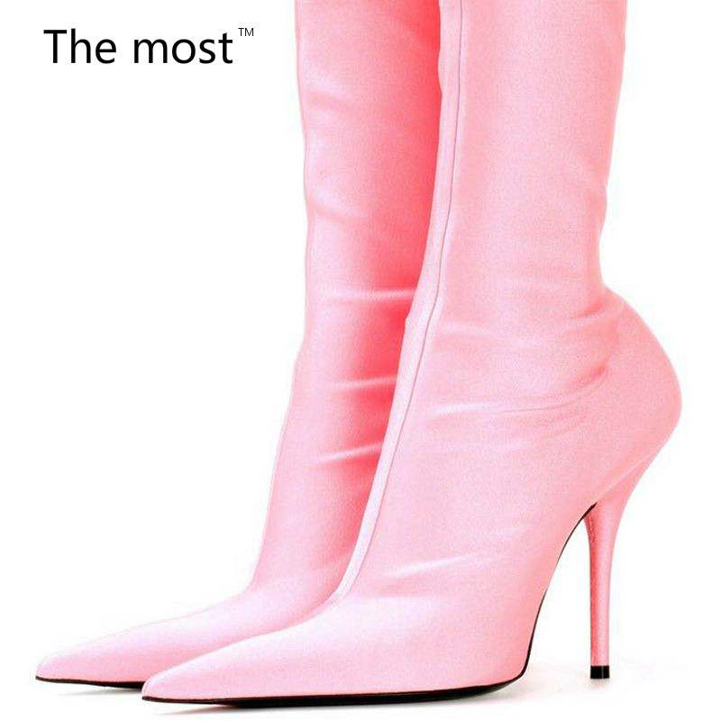 2017 a short section of the most fashionable women Shoes senior silk stretch ankle boots Satin elastic knee high heels sli roman hollow out the photo shoes fashionable nightclub cos props phantom of the opera queen show low shoes canister boots