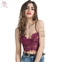 Women Sexy Lace Crop Top Purple Semi Sheer Eyelash Spaghetti Strap Slim Cut Out Casual Bralette