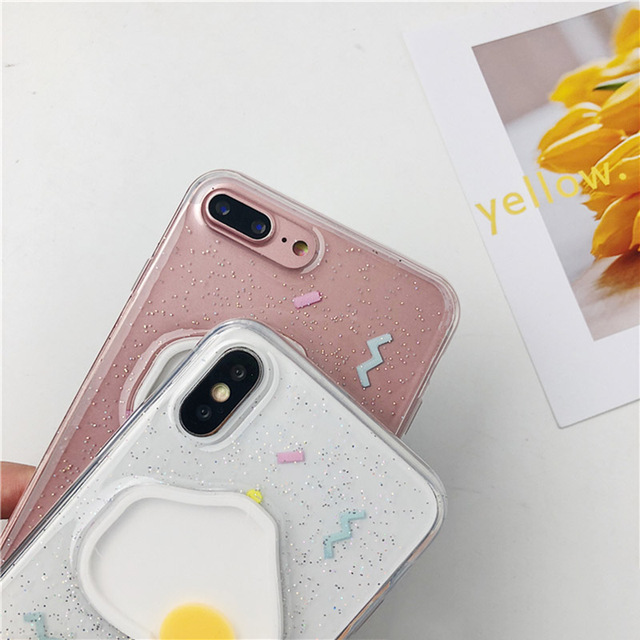 Cute Glitter Egg Patterned Soft Phone Case For iPhone