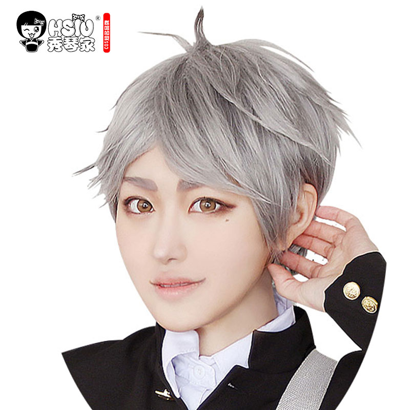 HSIU NEW High Quality Sugawara Koushi Cosplay Wig Haikyuu!! Costume Play Wigs Short Gray Halloween Costumes Hair Free Shipping